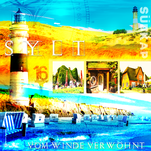 Sylt Collage blau/gelb